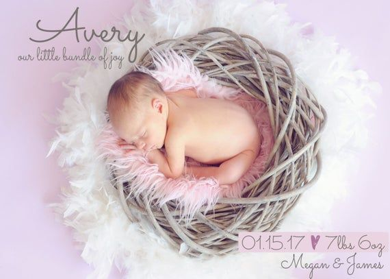 Personalized Birth Announcement – Baby Girl – Newborn Baby – Baby Boy – Photo Birth Announcement – C