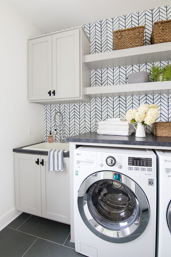 Wallpapered Laundry Room The Lilypad Cottage Laundry Room