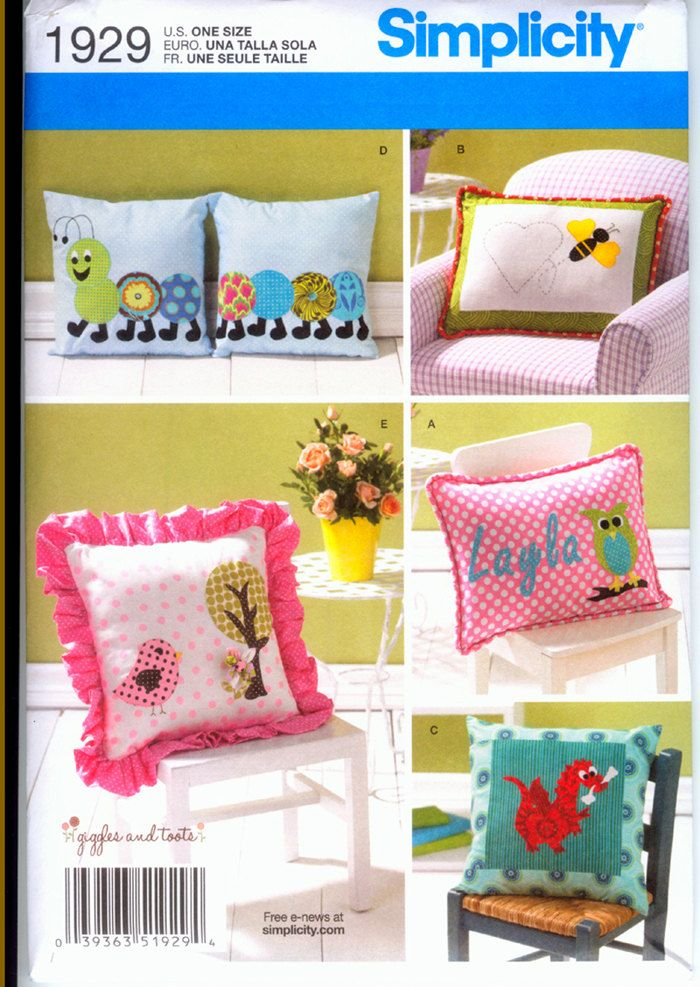 Simplicity 1929 Appliqued Pillows   Sewing Pattern