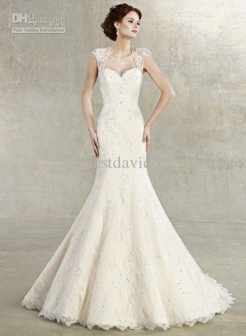 Wholesale 2013 Cap Sleeves Lace Mermaid Wedding Dress Keyhole Back