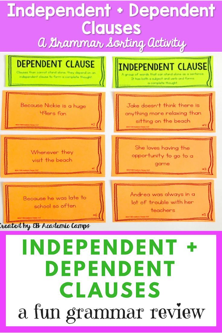 Uncategorized Subordinate Clause Worksheet independent and dependent clauses sort activity clause activity