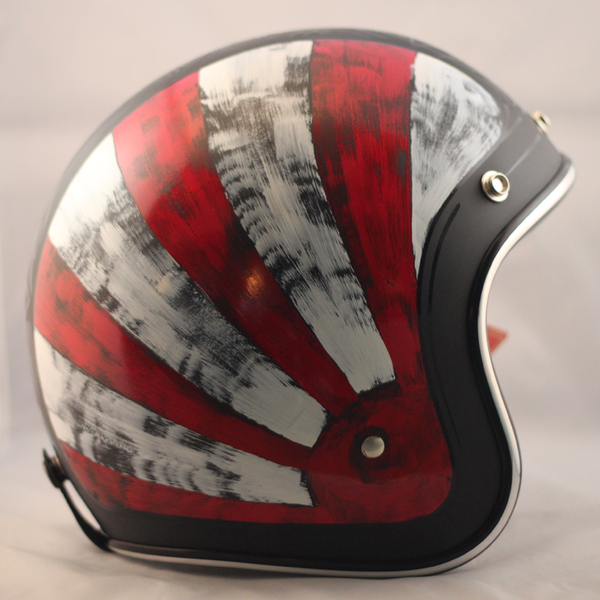 Distressed W Red White Motorcycle Helmets Art Motorcycle Helmet Design Vintage Helmet