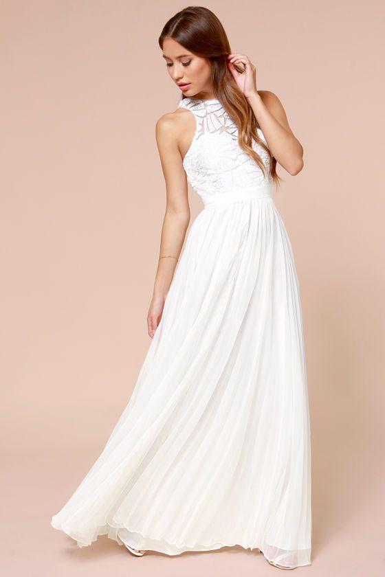Debut off white asymmetric pleated maxi dress