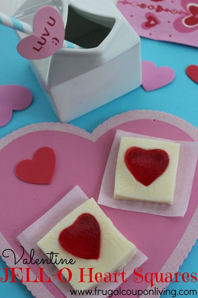 Valentine JELL-O Heart Squares – Fun Dessert for February. Valentines Day Ideas for Kids. Valentines Day food craft. #valentine #recipe #JELLO