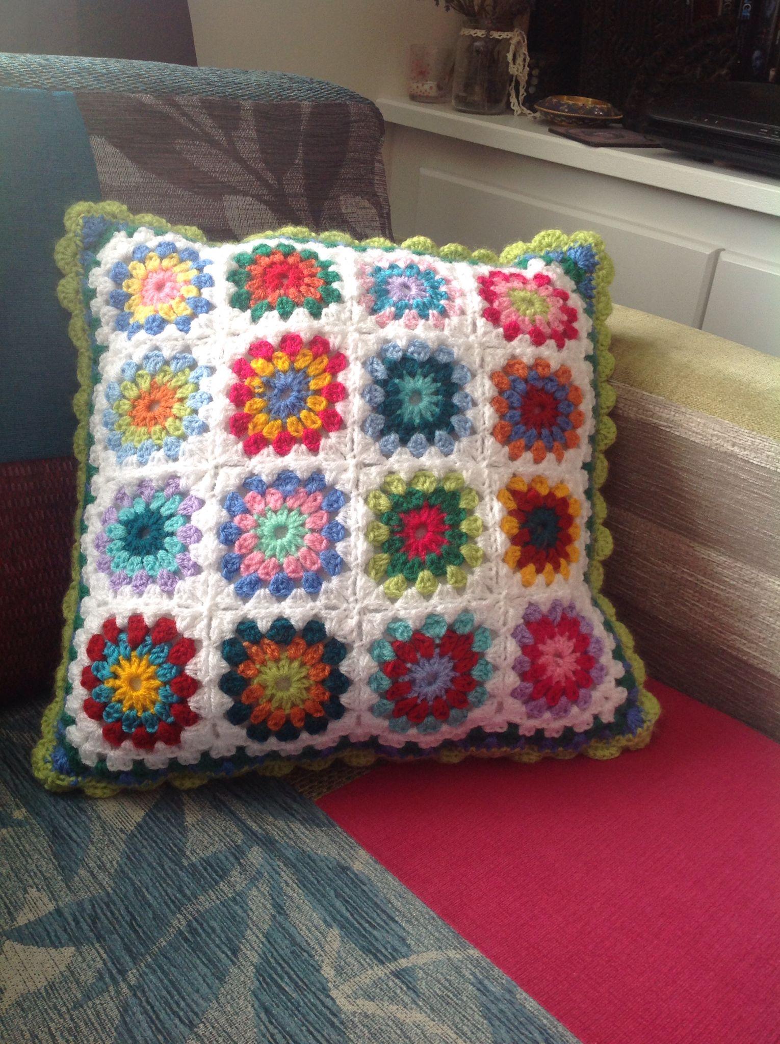 Crocheted sunburst cushion cover - order through my 'Originals' by Jango Facebook page