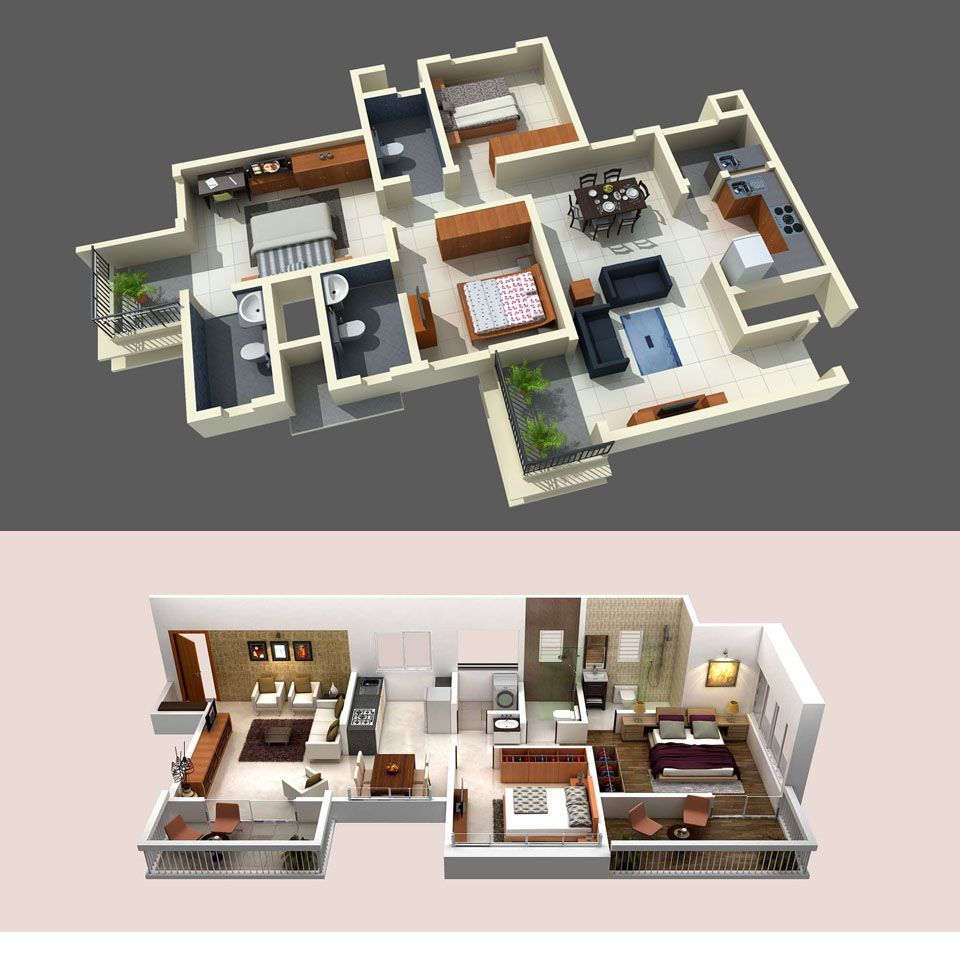Floor Plan Design Of 2BHK & 3BHK