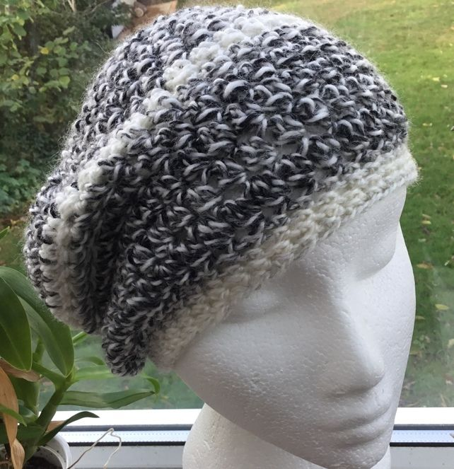 db683e583a872 Marbled Grey! Pretty Crocheted Soft Beret
