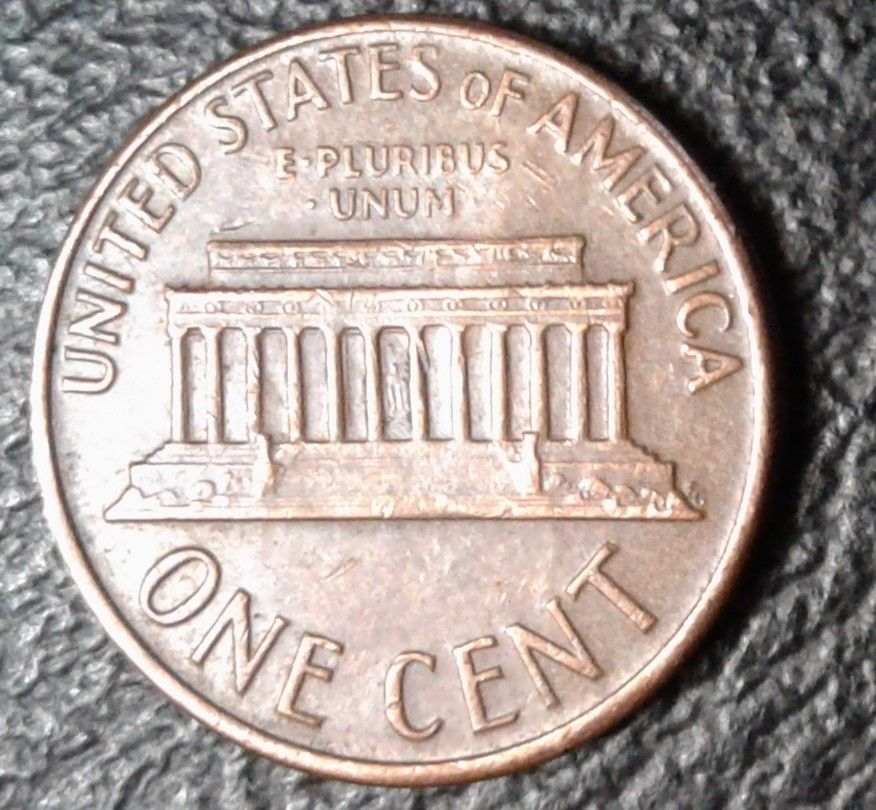 1968 D Lincoln Memorial Penny 1 Cent Coin Reverse   COINS IN