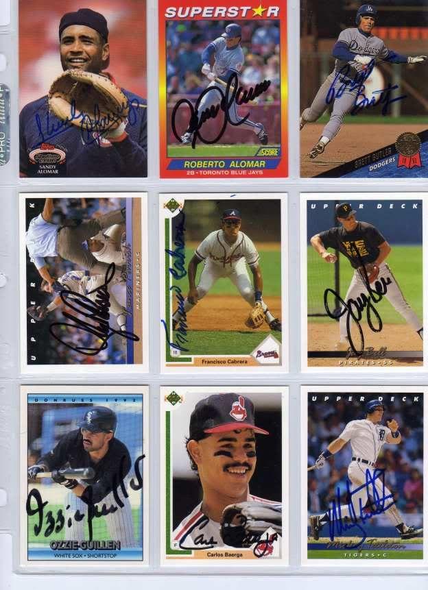 Signed Baseball Cards Include Sandy Alomar Roberto Alomar