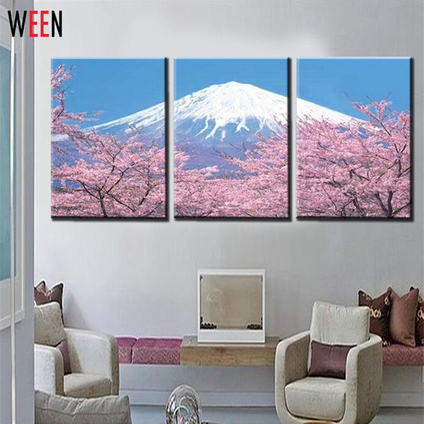3 Panel Modern Wall Art Home Decoration Canvas Printing Canvas Prints Pictures Japanese Mount Fuji Cherry Blossom Frame Print Pictures Modern Wall Art Wall Art