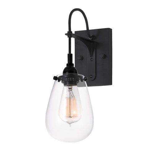 Charmant SONNEMAN Chelsea One Light   Satin Black With Clear Glass   Wall Sconce