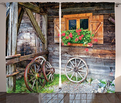 Country Curtains Shutters Decor By Ambesonne Weathered Old Window With Flowers In Pot Wheels Farmhouse Rura Rustic Shower Curtains Rustic Shower House Shutters