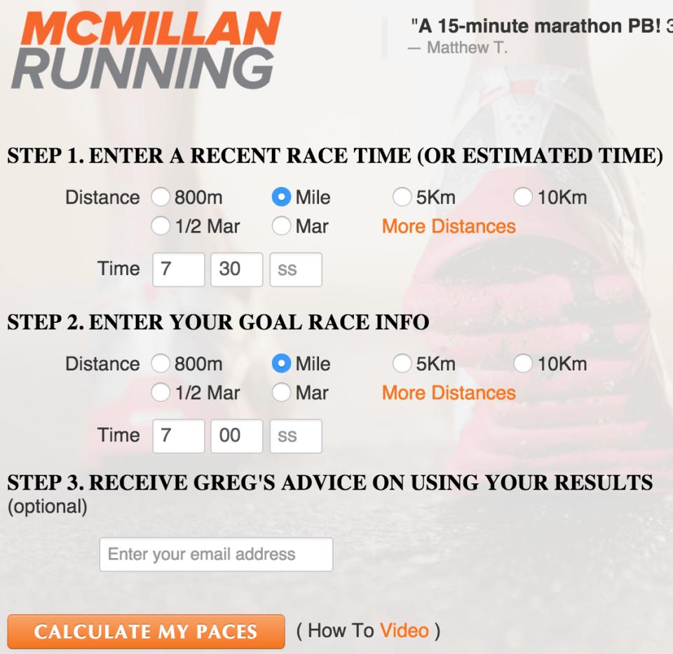 How To Use The Mcmillan Running Calculator Beginner Running