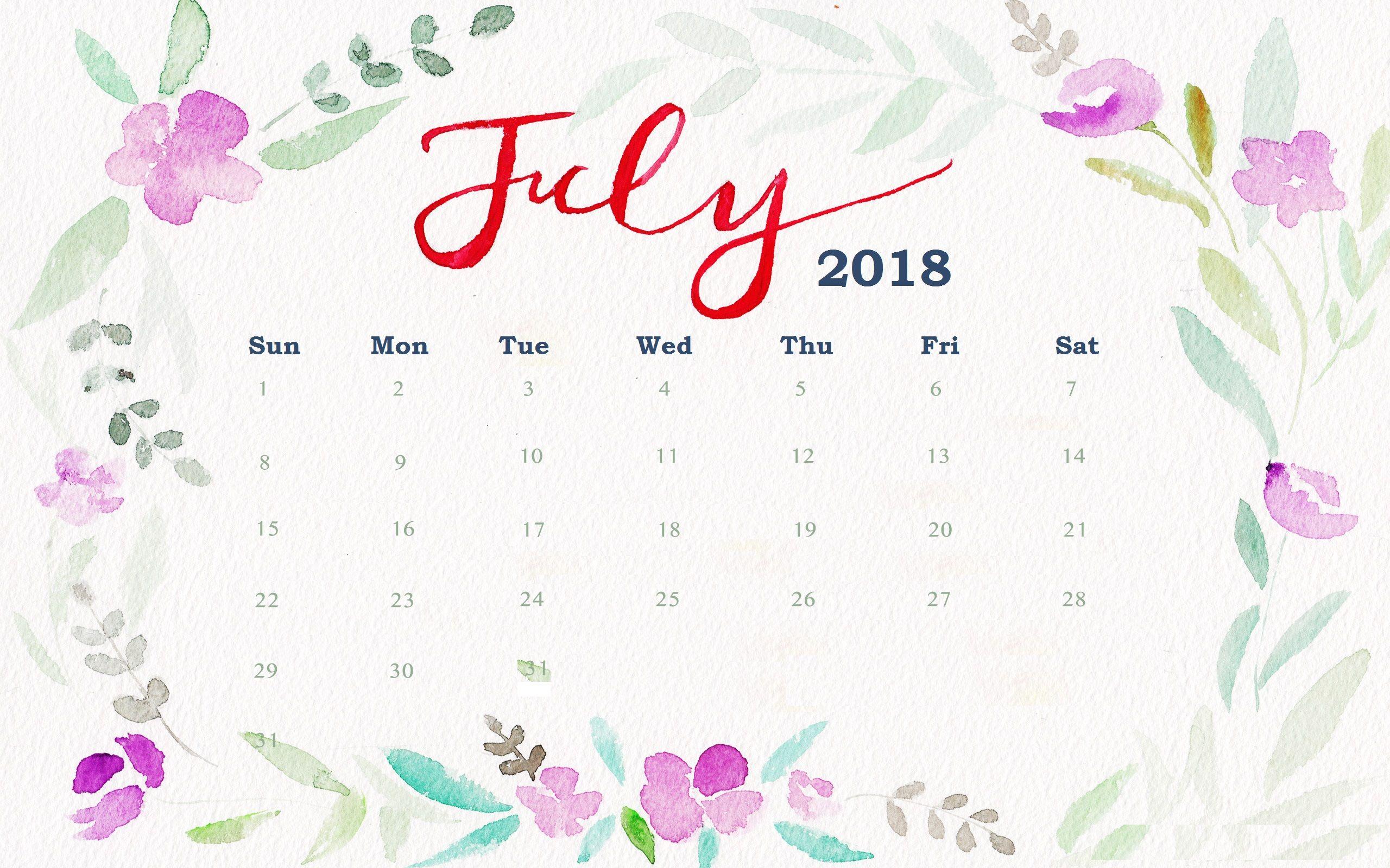 July 2018 Floral Desktop Calendar Maxcalendars