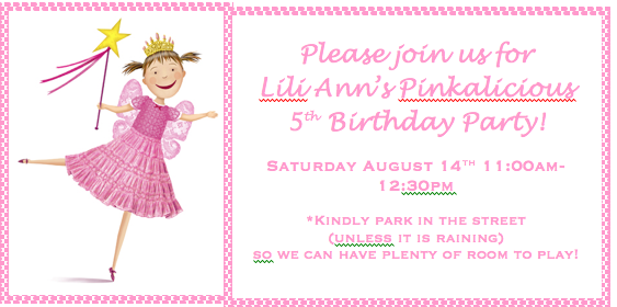 Valerie 5 Years Old Birthday Party Pinkalicious Invite