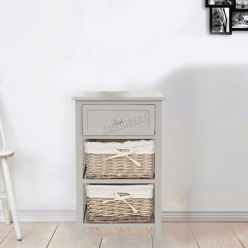 Foxhunter Bedside Cabinet Unit Table With Wicker Basket Drawer Storage Bcu09 New With Images Bedside Cabinet Wicker Basket Drawers Storage Drawers