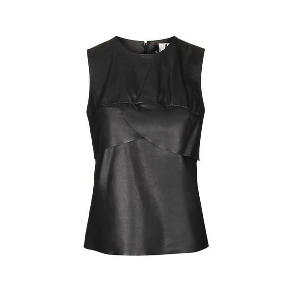Symons Leather Top by Unique ($110) ❤ liked on Polyvore featuring tops, black, flutter-sleeve top, sleeveless tops, leather top, flounce tops and topshop tops