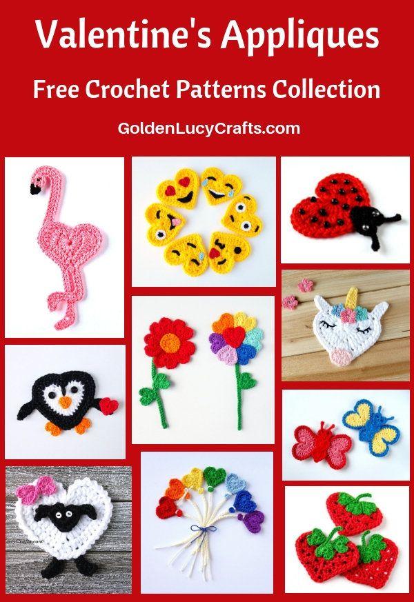 Crochet Valentines Day Appliques Free Patterns Crochet Pinterest