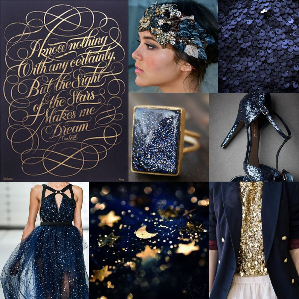 Creative Odds n' Ends: 12 Days of Christmas Inspiration: Day 12, Midnight Clear holiday, midnight, celestial, gold, glimmering, sparkle #celestial #wedding