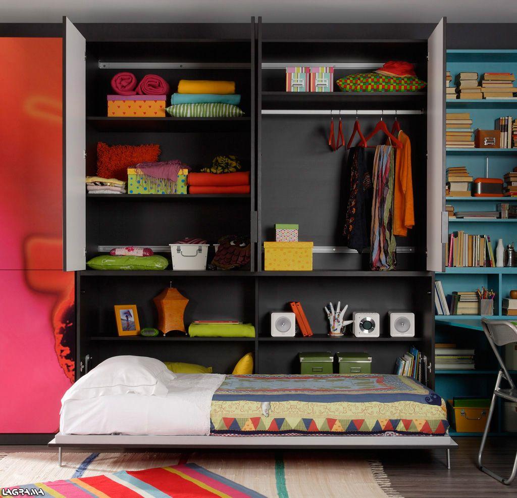 Cama abatible con armario superior de lagrama buscar con for Muebles habitacion infantil nina