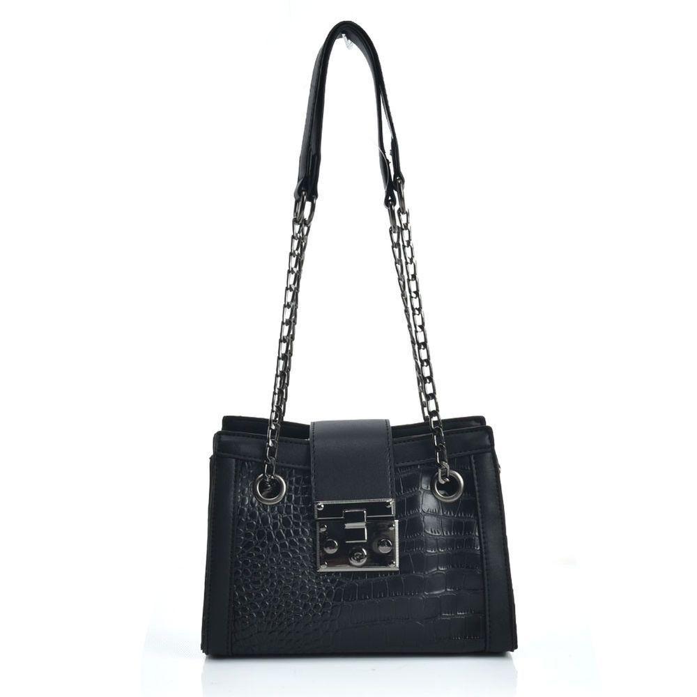 Small Black Handbag Women Shoulder Bag Purse Satchel Faux Leather Croc  Design Ne  smallblackshoulderpurse 0e0efbd76d099