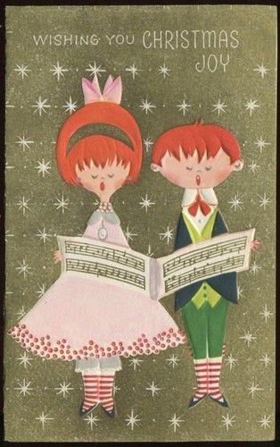 Vintage Midcentury Christmas Greeting Card Christmas Carolers c1950s