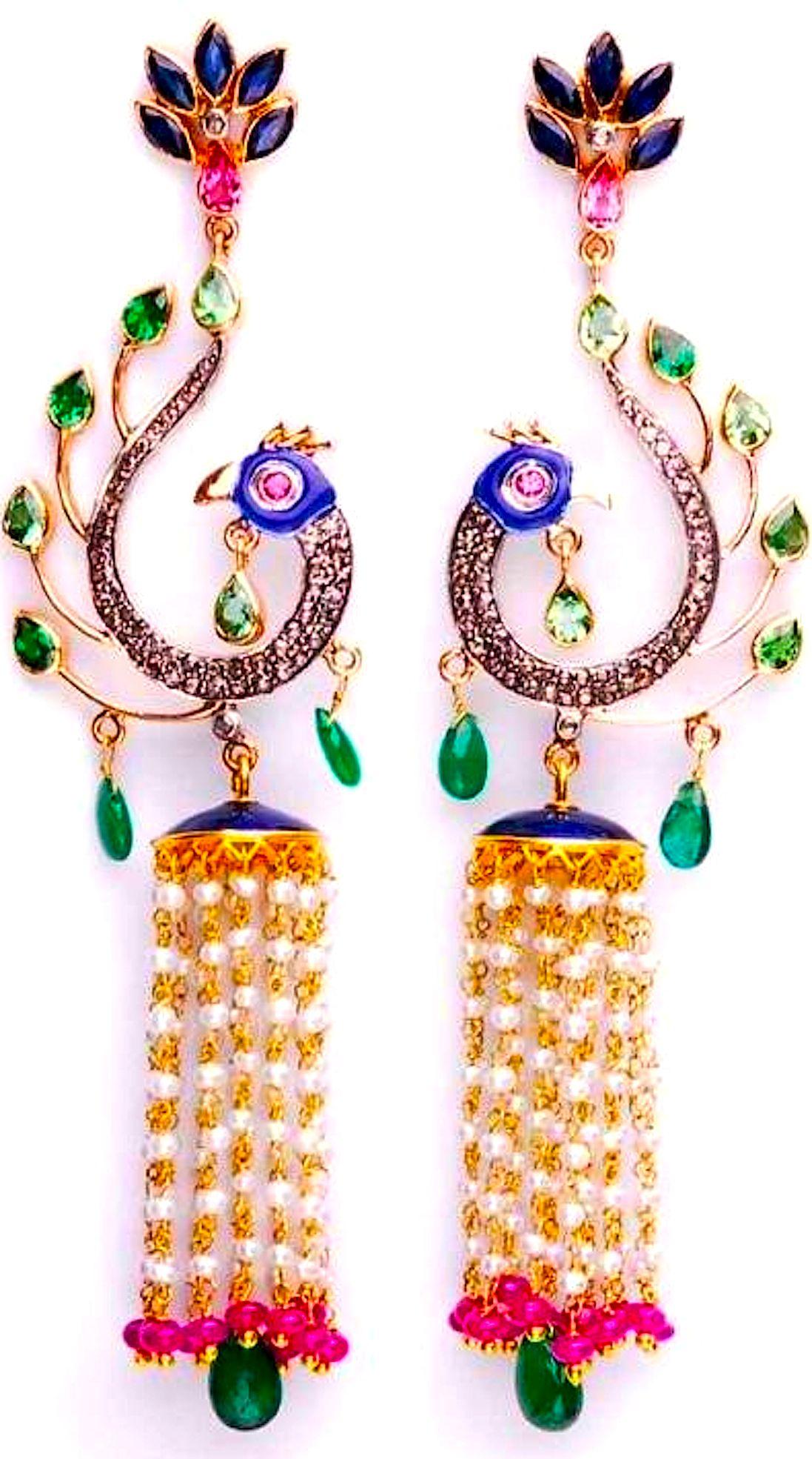 Peacock kundan Jhumkas Jewellery t Peacocks Indian