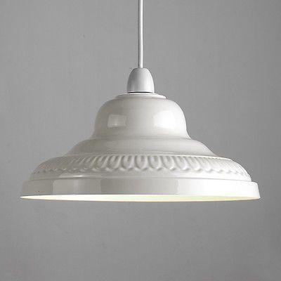 Vintage Retro Cream Metal Ceiling Pendant Light Lamp Shade Lampshade Lights New Lamp Shades Small Lamp Shades Rustic Lamp Shades