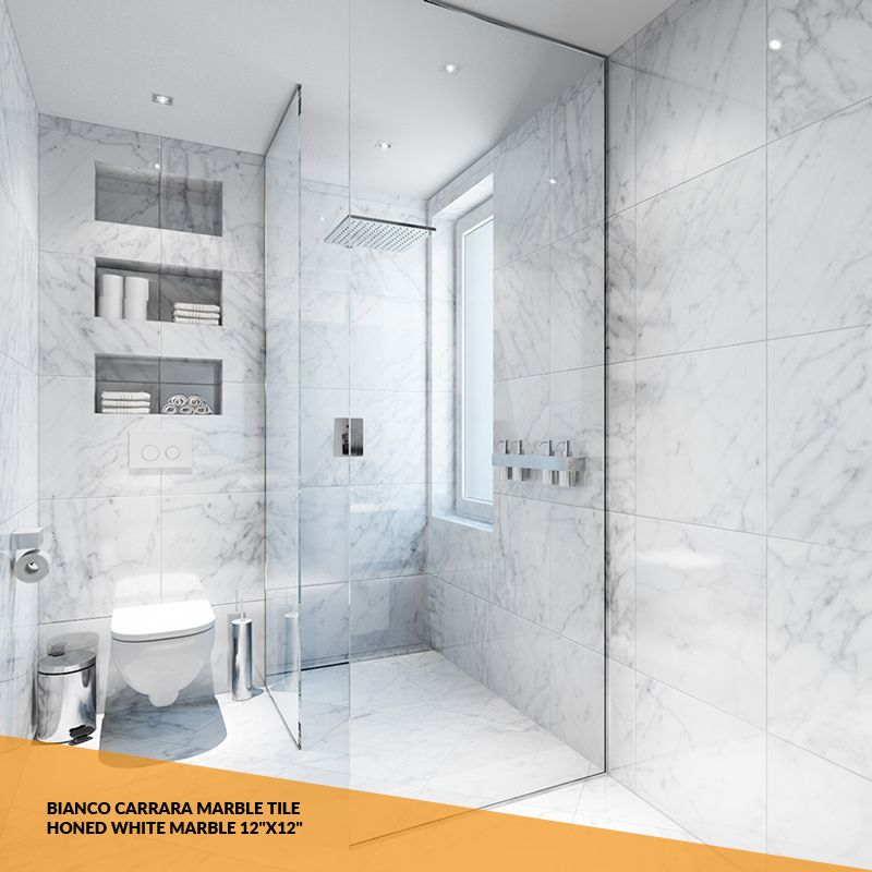 Bianco Carrara Marble Tile Honed White Marble 12 X12 Marble Bathroom Designs White Marble Bathrooms Marble Bathroom