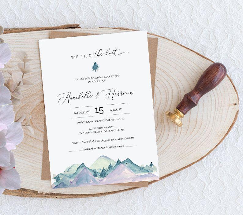 Elopement Wedding Invitation Template Casual Wedding Etsy Wedding Invitation Templates Wedding Invitations Casual Wedding Reception