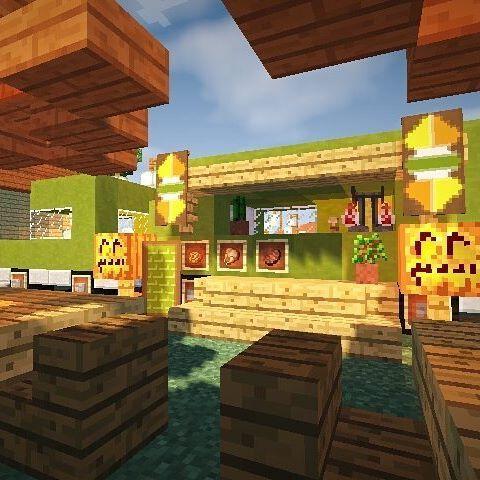 トレーラーとかを店舗にしてるお店ってお洒落に見えますよね 個人的にはとても好きです マインクラフト マイクラ ゲーム Minecraft Mine マイクラ 建築 マインクラフト マイクラ 内装