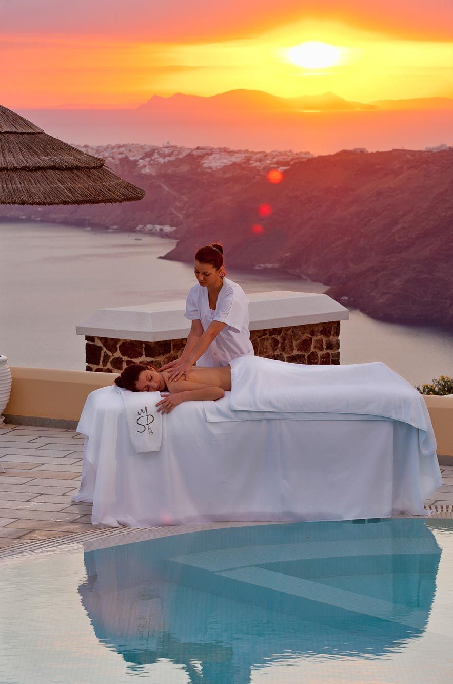 A massage whilst the sunsets- amazing. Santorini Princess Luxury SPA Hotel in Greece