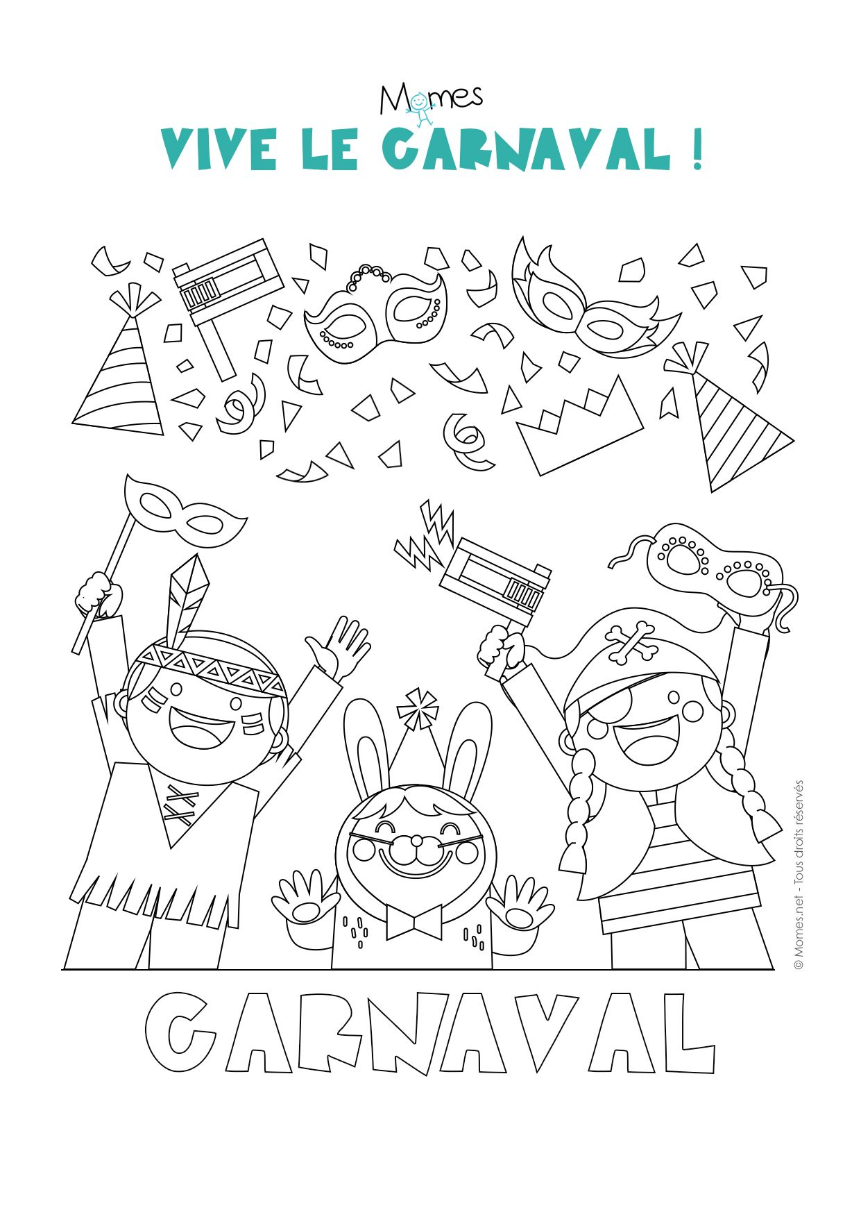 Coloriage carnaval fuesend pinterest - Coloriage masque ...