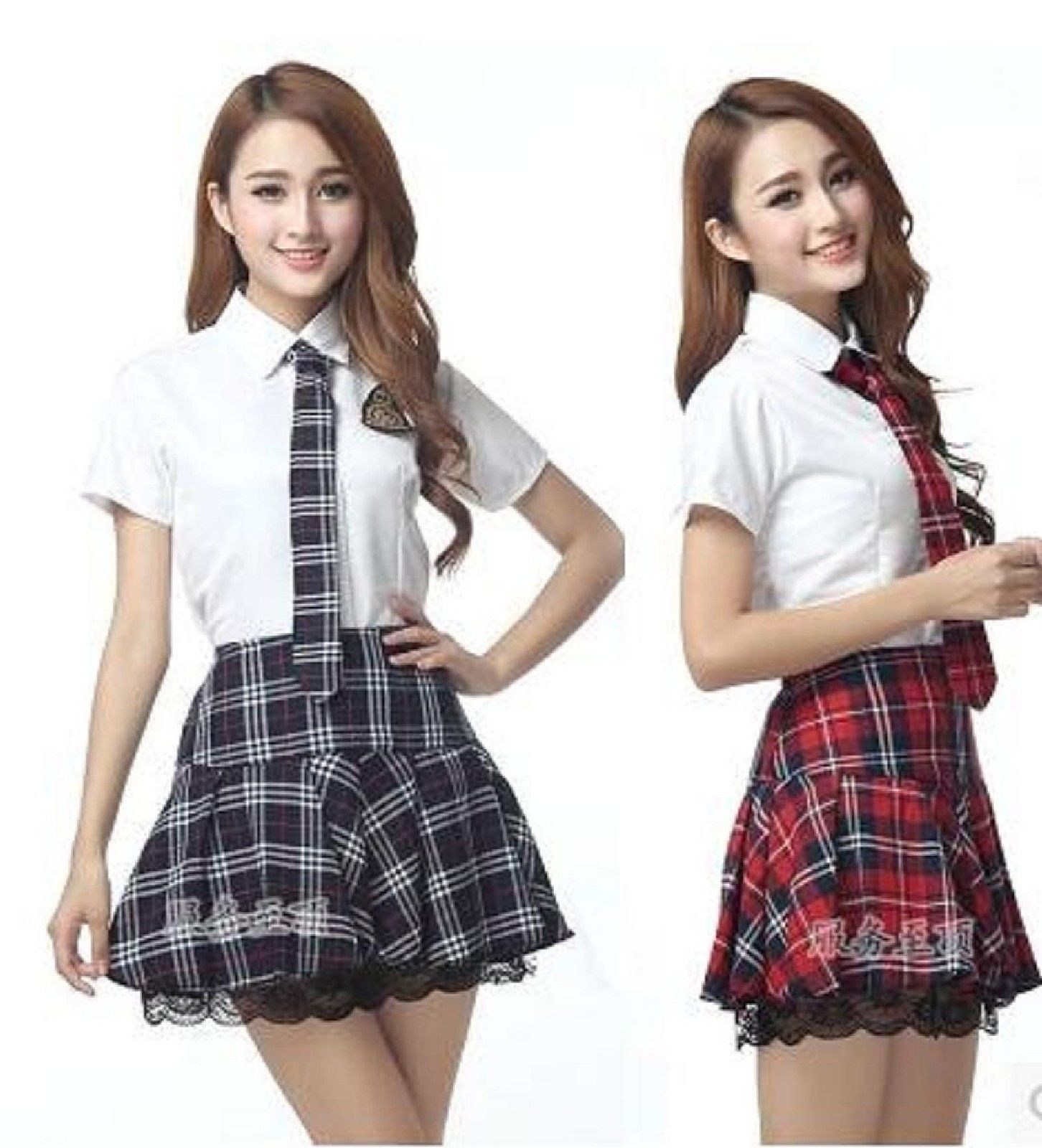 de3d914f52 Japanese Korean High School Girls Uniform Shirt Skirt Tie Suit Cosplay  Costume