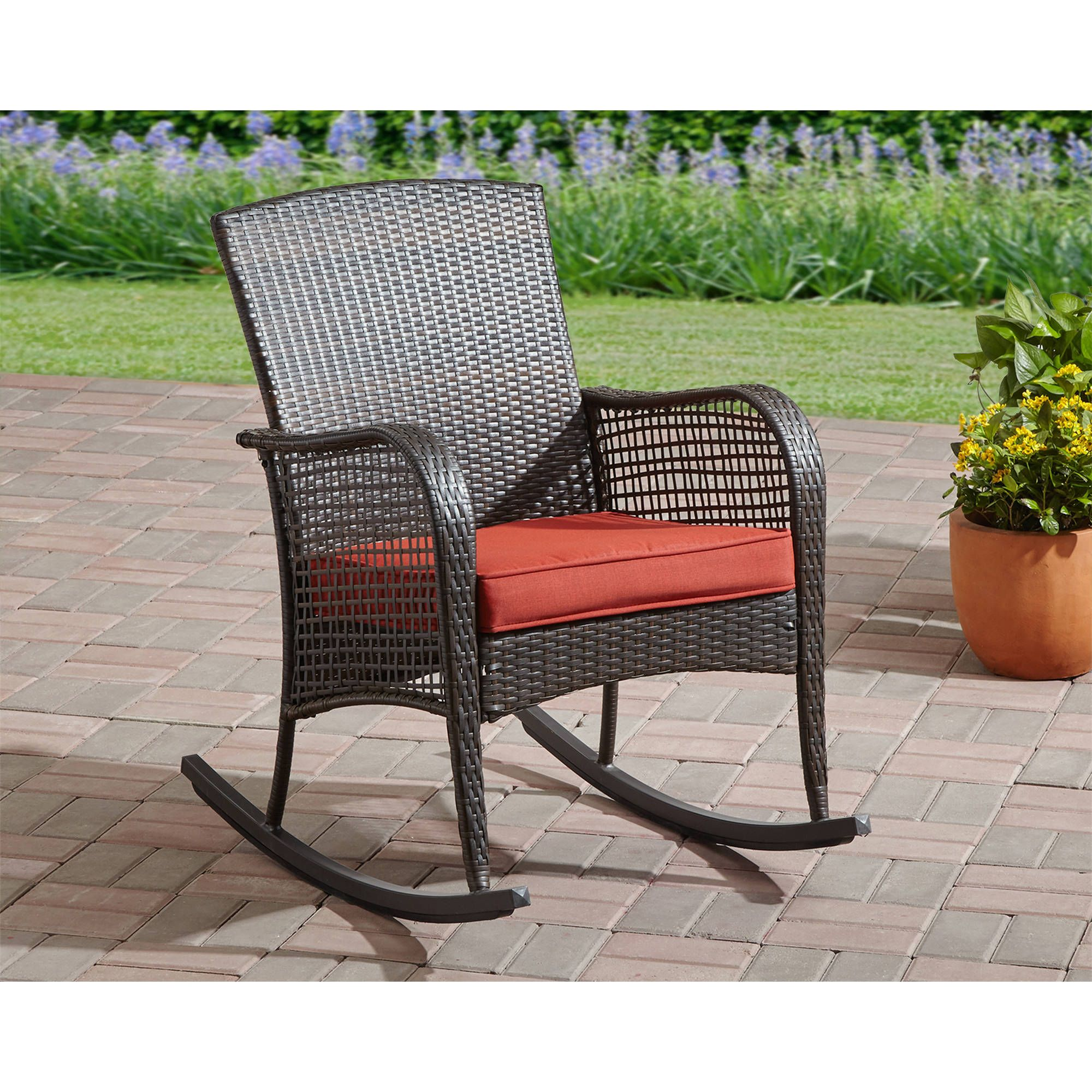 Install Outdoor Patio Chairs For Comfortable Sitting Decorifusta Outdoor Wicker Rocking Chairs Wicker Rocking Chair Patio Chairs