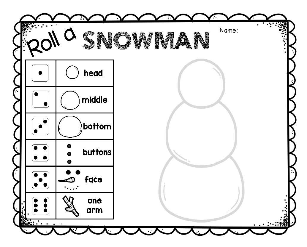Roll A Snowman Dice Game Christmas Math
