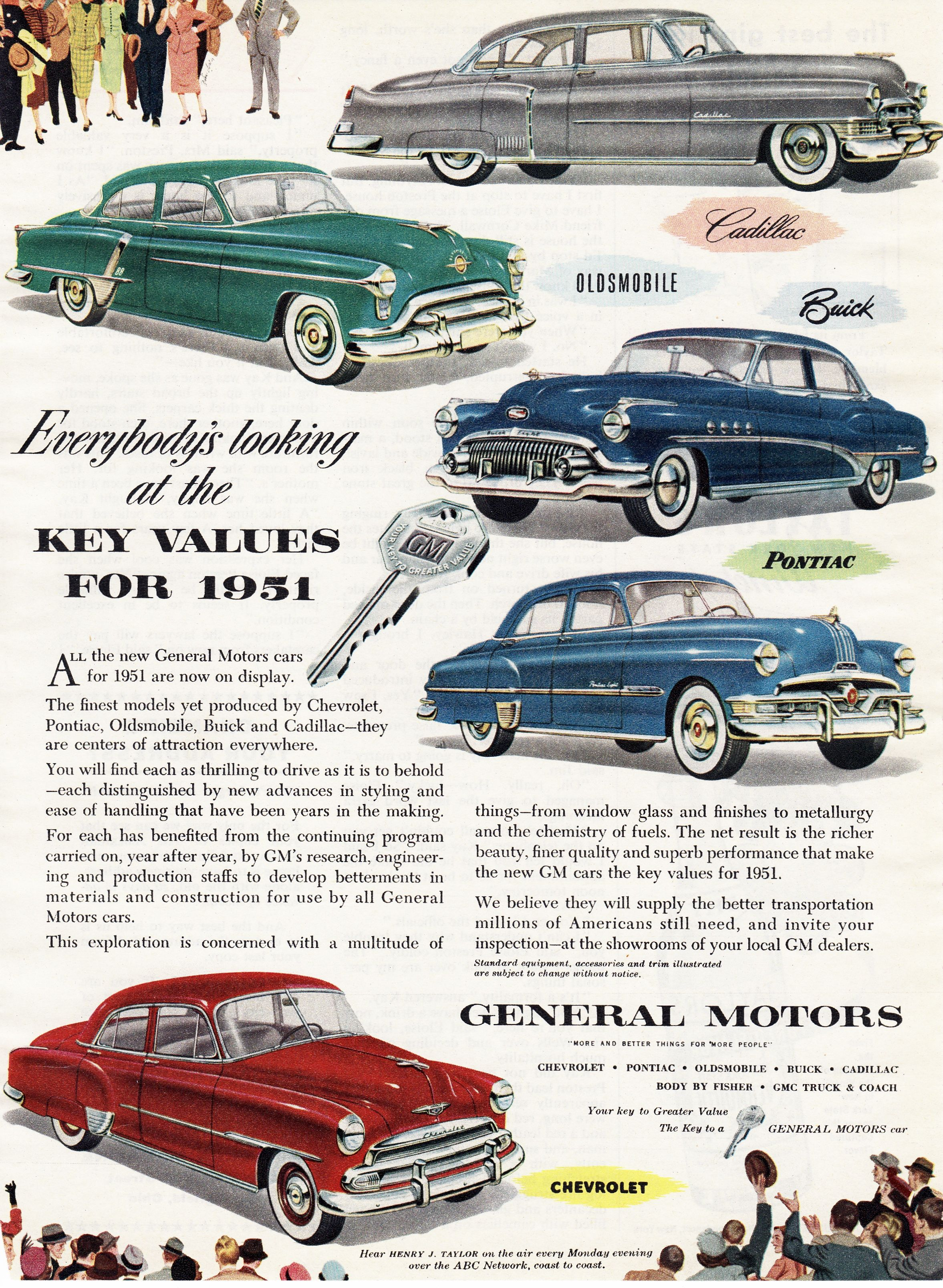 General Motors 1951 Oldsmobile General Motors Car Ads