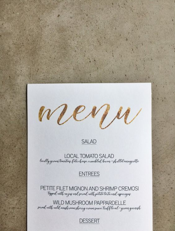 FREE DOWNLOAD Gold Menu Template Microsoft word, Simple weddings