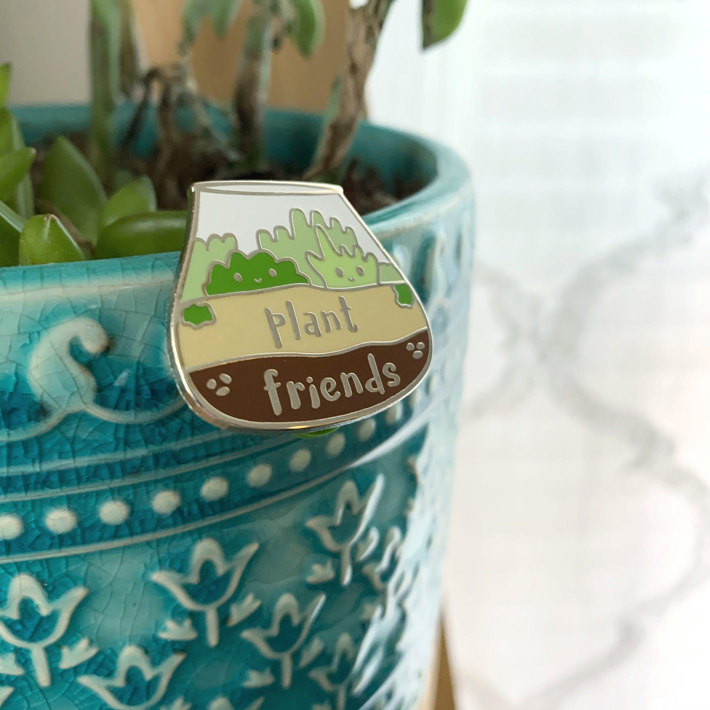 Photo of Plant Friends Enamel Pin – Hard Enamel Brooch – Cute Succulent Terrarium Pin – Kawaii Lapel Pin – Gift