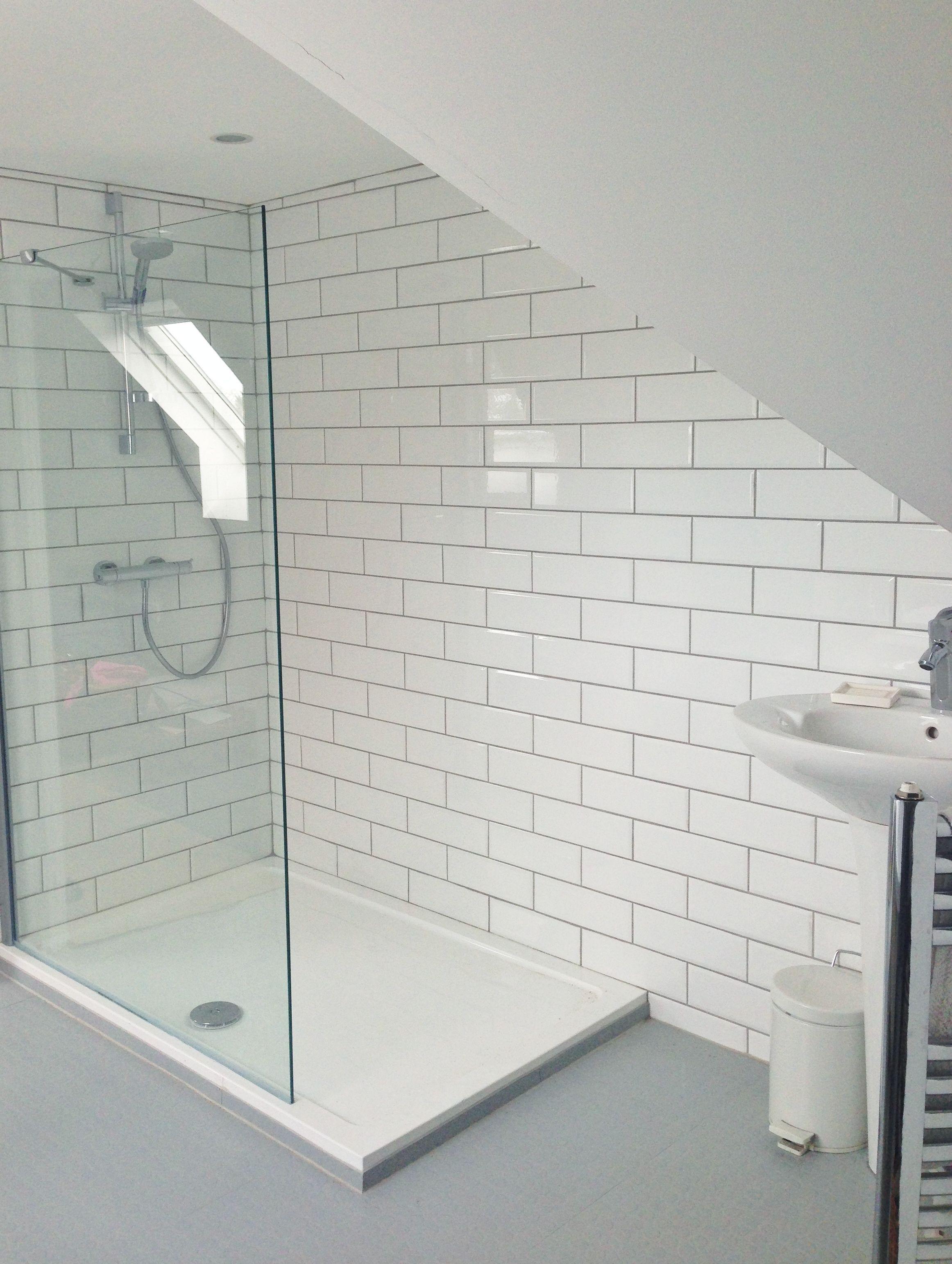Our ensuite. White Metro tiles #interiordecoronabudgetfloors ...