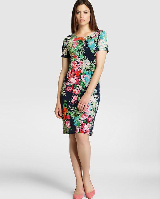 34374113ed7 Vestido de mujer Antea con manga corta y estampado floral | Moda y ...