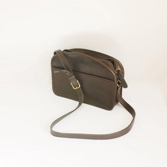 15c271db8244 Vintage Leather Coach Crossbody Bag in Dark Brown