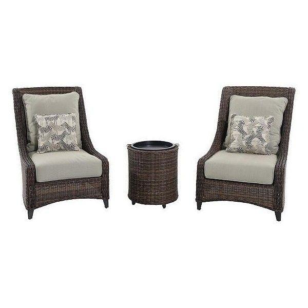 Stanton 3 Piece High Back Outdoor Seating Set Wicker Patio Furniture Rustic Bedroom Furniture Bedroom Furniture Layout