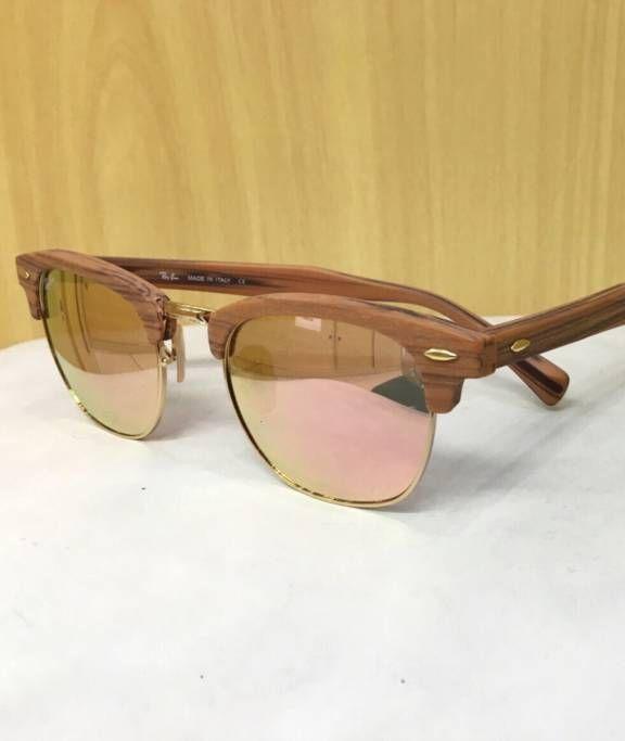 Óculos ray ban modelo clubmaster wood, rb 3016, tamanho 51-21. Armacao de  madeira e lente rose. Acompanha todos os acessórios. Produto original. d3aebfd857