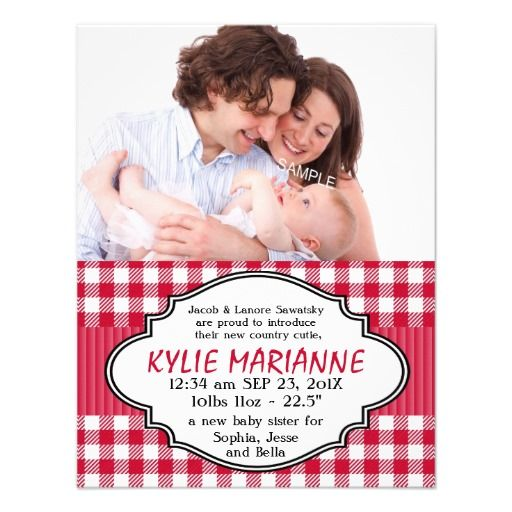Country Gingham Baby Girl birth Announcement! Make your own invites more personal to celebrate the arrival of a new baby. Just add your photos and words to this great design.
