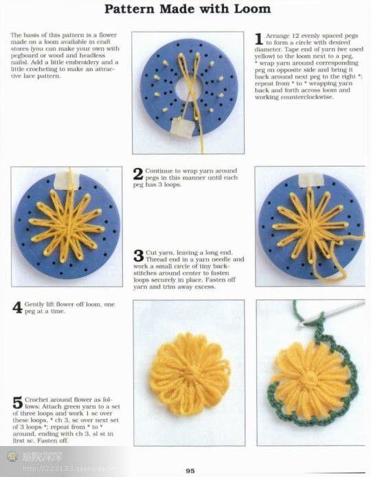 Flor Aplique con Telar - Patrones Crochet#.VBWGg010w5s#.VBWGg010w5s ...