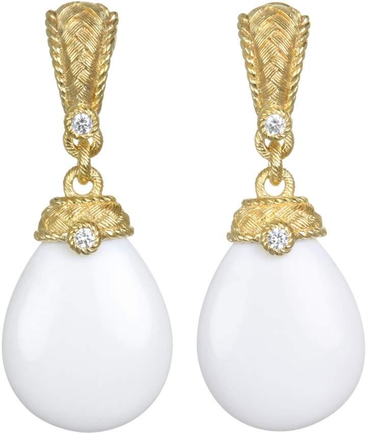 Judith Ripka Sterling 14k Clad Agate Diamonique Earrings