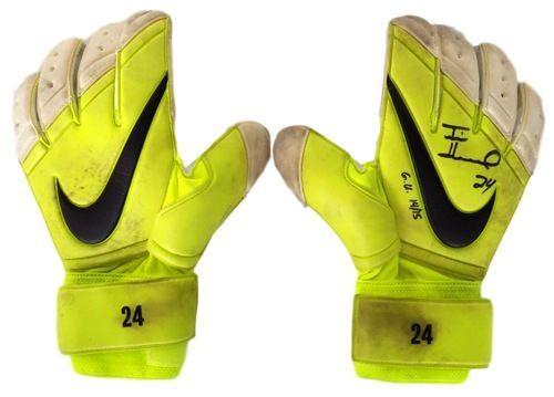 info for 584e4 5560b Tim Howard Everton FC Game Used   Signed Yellow Nike Gloves 2 JSA+Howard  Holo
