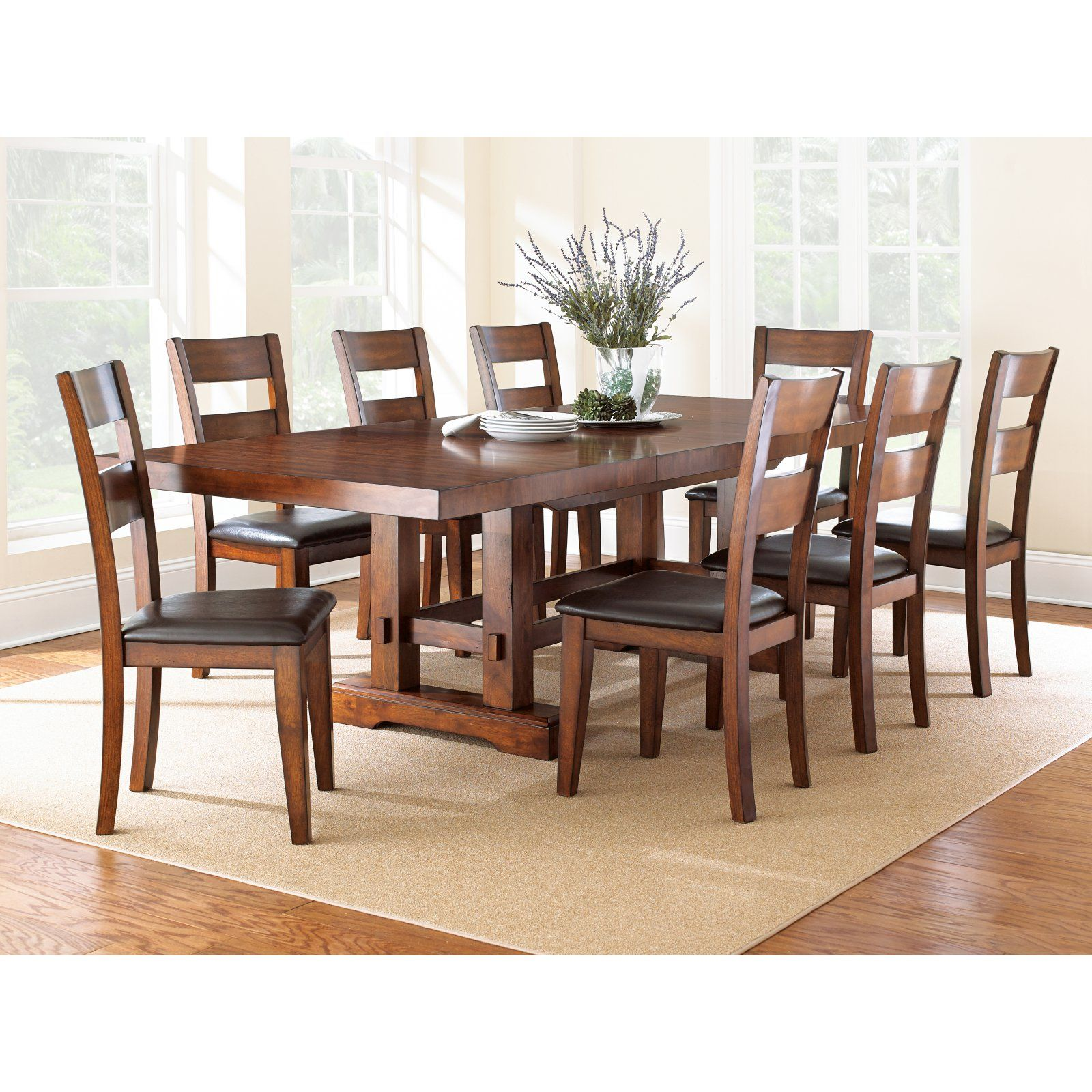 Steve Silver Zappa 9 Piece Dining Table Set Medium Cherry In
