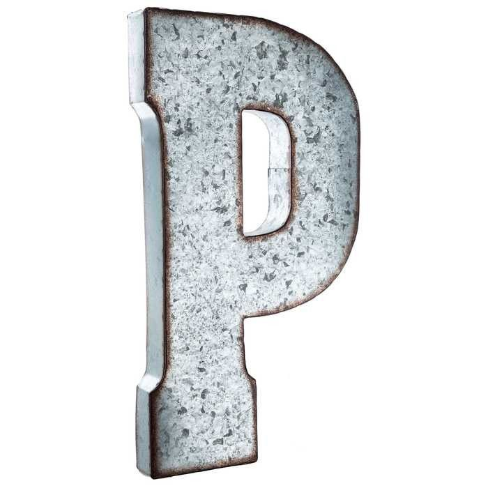 Wall Decor P Large Galvanized Metal Letter